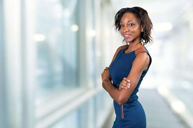 Retrato, de, bonito, americano africano, executiva