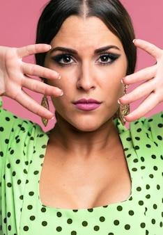 Retrato, de, bonito, dançarino flamenco