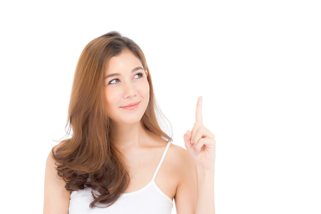 Retrato, de, bonito, mulher asian, pensando, algo