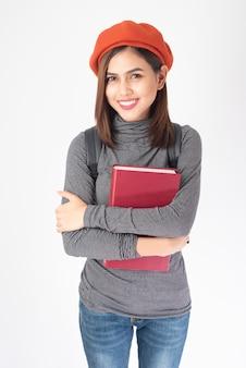 Retrato, de, bonito, universidade, mulher, branco, fundo