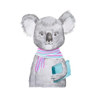Retrato de coala inteligente dos desenhos animados, usando lenço e segurando um livro.