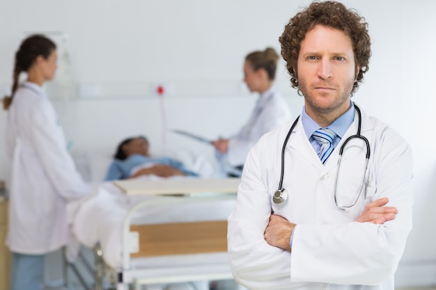 Retrato, de, confiante, doutor
