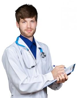 Retrato, de, confiante, jovem, médico