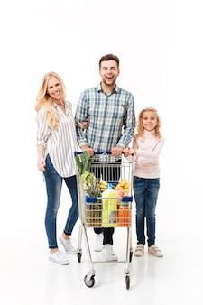 Retrato de corpo inteiro de uma família feliz