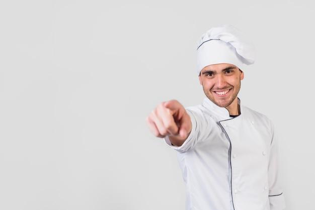 Retrato, de, cozinheiro, apontar