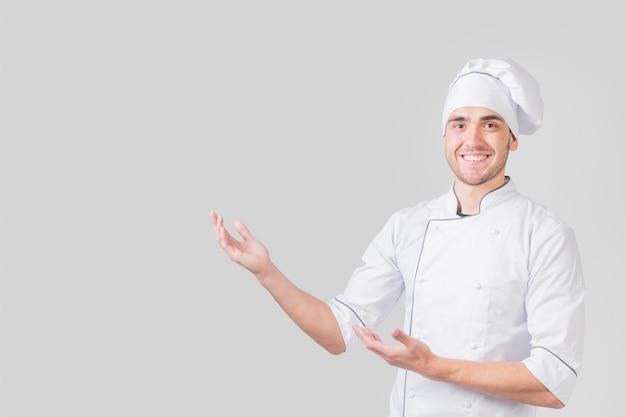 Retrato, de, cozinheiro chefe, apresentando, copyspace