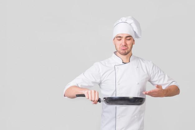 Retrato, de, cozinheiro chefe, com, panela