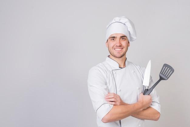 Retrato, de, cozinheiro, com, espátula