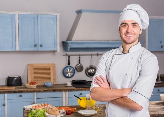 Retrato, de, cozinheiro, em, cozinha
