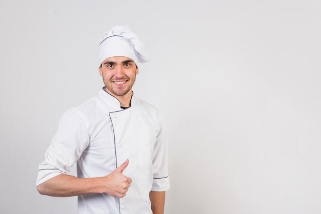 Retrato, de, cozinheiro, fazendo, gostosa, gesto