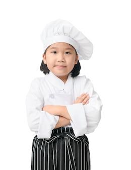Retrato, de, cute, menina, cozinheiro, com, cozinheiro, chapéu, e, avental, levantar, e, sorrizo, isolado, branco, fundo