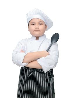 Retrato, de, cute, menino, cozinheiro chefe, segure colher, com, cozinheiro, chapéu