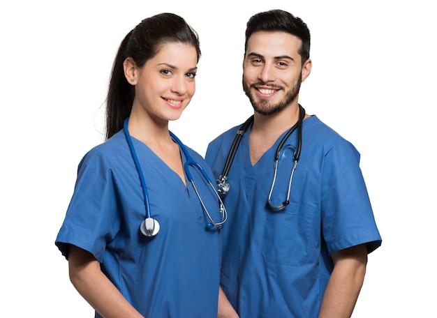 Retrato, de, dois, sorrindo, trabalhadores médicos