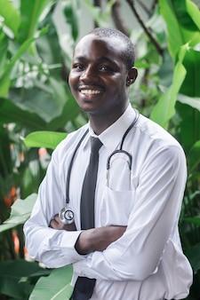 Retrato, de, doutor sorridente