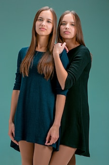 Retrato de duas belas moças gêmeas