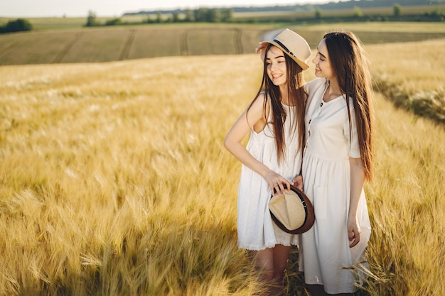 Retrato de duas irmãs em vestidos brancos com cabelos longos em um campo