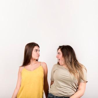 Retrato, de, duas meninas, branco, fundo