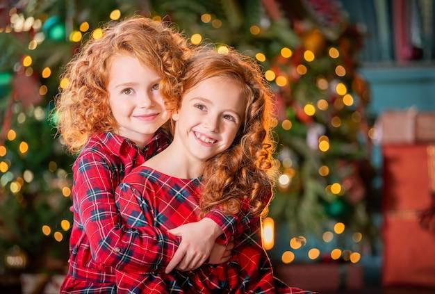 Retrato de duas meninas ruivas de cabelos encaracolados felizes acariciando no fundo da árvore de natal.