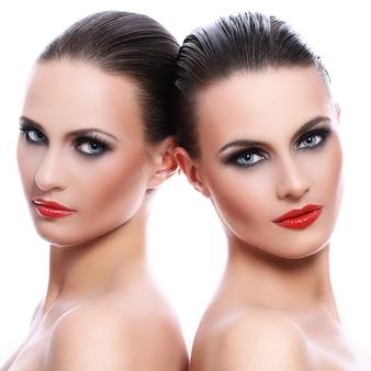 Retrato de duas mulheres bonitas