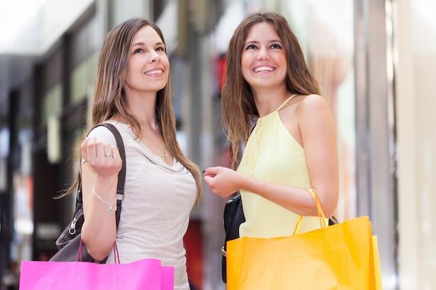 Retrato, de, duas mulheres, shopping, junto