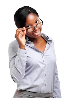 Retrato de empresária preto lindo