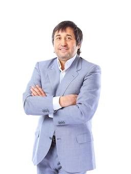 Retrato de empresário feliz e sorridente, isolado sobre fundo branco