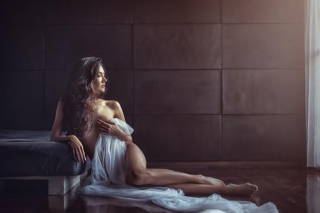 Retrato, de, excitado, glamouroso, menina asiática