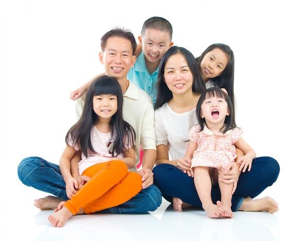 Retrato, de, família asian