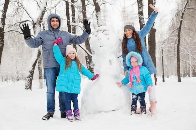 Retrato de família na neve