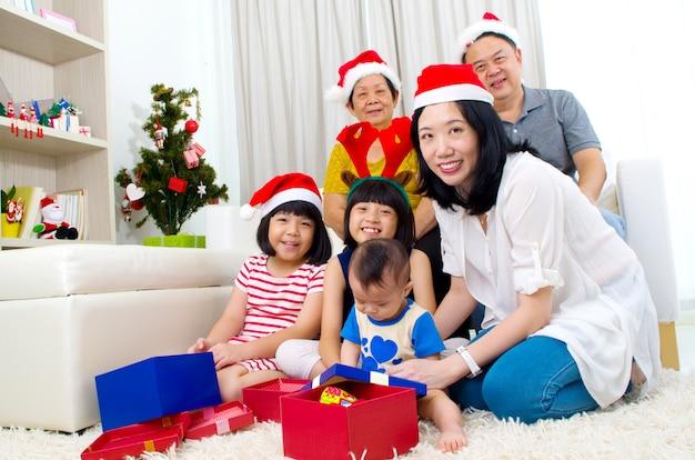 Retrato, de, feliz, membros familiares, em, santa, bonés, ligado, véspera natal