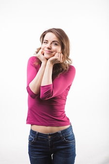 Retrato, de, feliz, mulher jovem, isolado, sobre, fundo branco