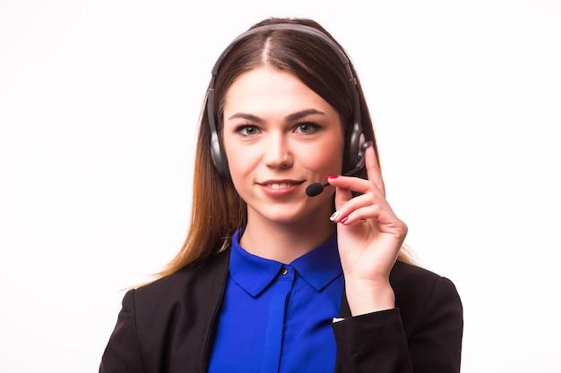 Retrato de feliz sorridente alegre suporte telefonista no fone de ouvido, isolado na parede branca Foto Premium