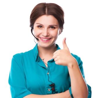 Retrato, de, feliz, sorrindo, alegre, jovem, apoio, telefone, operador