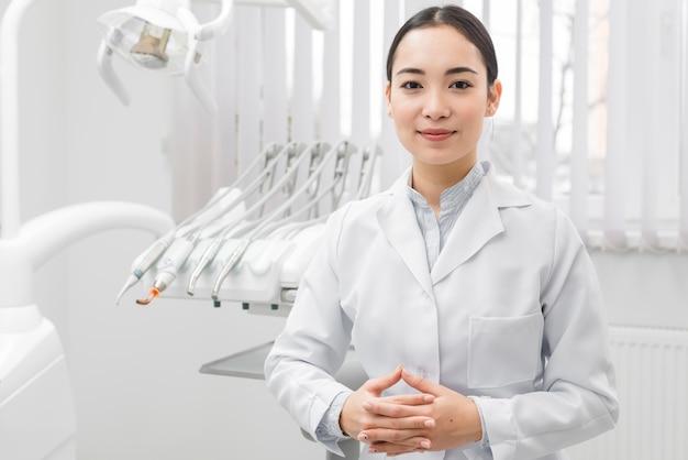Retrato, de, femininas, odontólogo