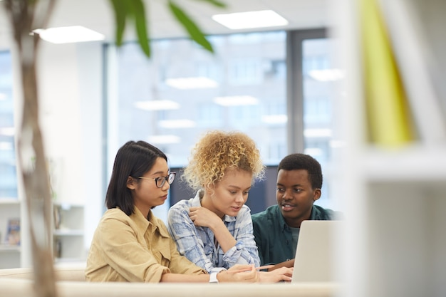 Retrato de grupo multiétnico de estudantes usando laptop juntos