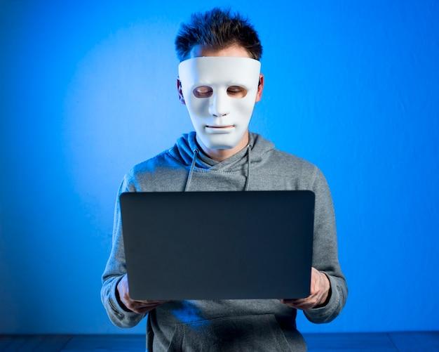 Retrato, de, hacker, com, máscara