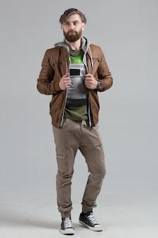 Retrato, de, hipster, homem