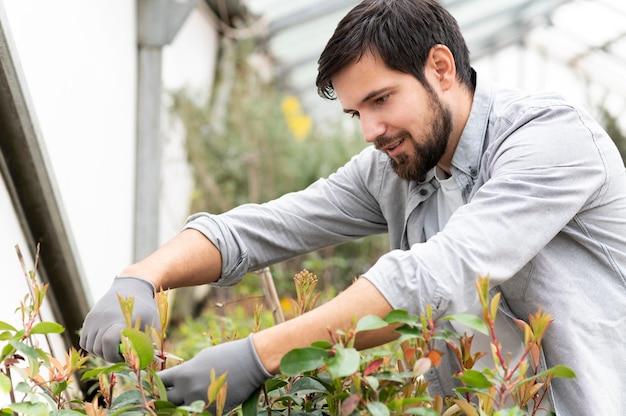 Retrato de homem crescendo plantas
