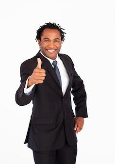 Retrato de homem de negócios com o polegar para cima