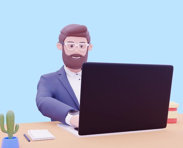 Retrato de homem de personagem de empresário bonito dos desenhos animados sobre fundo azul usar laptop para apresentação. ilustração 3d render.