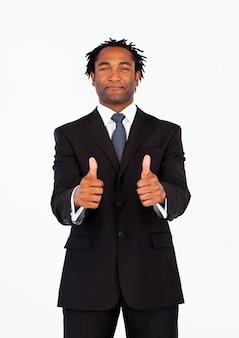 Retrato, de, homem negócios, com, polegares cima