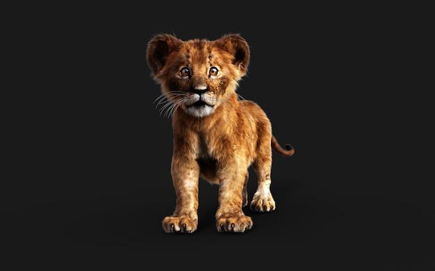 Retrato de ilustração 3d de filhote de leão isolado em um fundo escuro com trajeto de grampeamento.