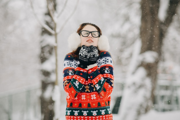 Retrato de inverno da mulher elegante cachecol de malha de lã cachecol e blusa, tempo frio de inverno, garota congelou
