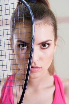 Retrato de jogador de squash