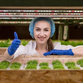 Retrato de jovem agricultor colhendo vegetais da fazenda hidropônica na manhã. hidroponia