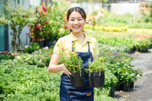 Retrato de jovem alegre trabalhador do centro gardeing segurando vasos com duas plantas florescendo