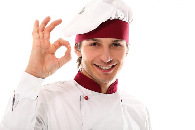 Retrato de jovem bonito chef