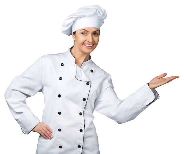 Retrato de jovem chef em fundo branco