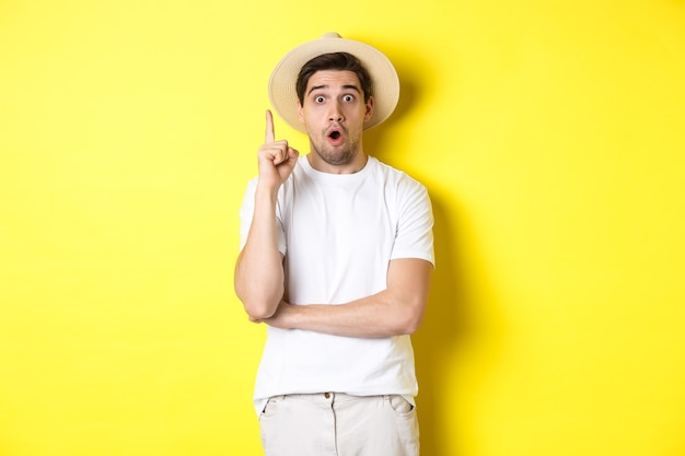 Retrato de jovem com chapéu de palha, tendo uma ideia, levantando o dedo sinal de eureka, fazendo sugestões, em pé sobre a parede amarela