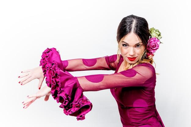 Retrato, de, jovem, dançarino flamenco, em, bonito, vestido, com, branca, fundo isolado